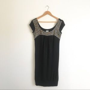 Cache Black Embellished Tank Dress Sz S